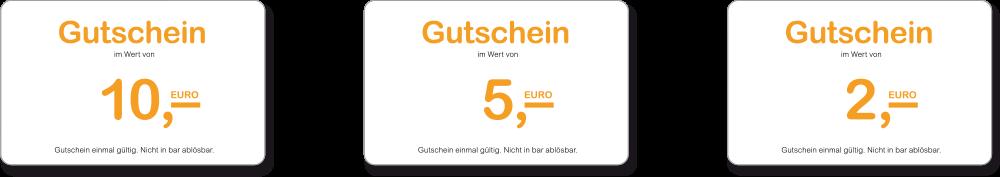 Gutscheine im Wert von 10, 5 und 2 Euro