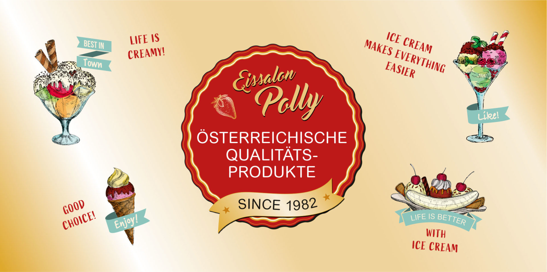 Großes Logo Polly's Icecream
